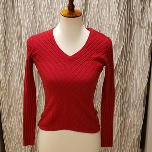 Banana Republic red v- neck sweater, size S.